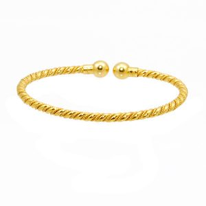 14k y/g Salara Chip Design Bangle