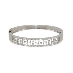 Diamond 1.01ct 14k w/g Mesh Bangle