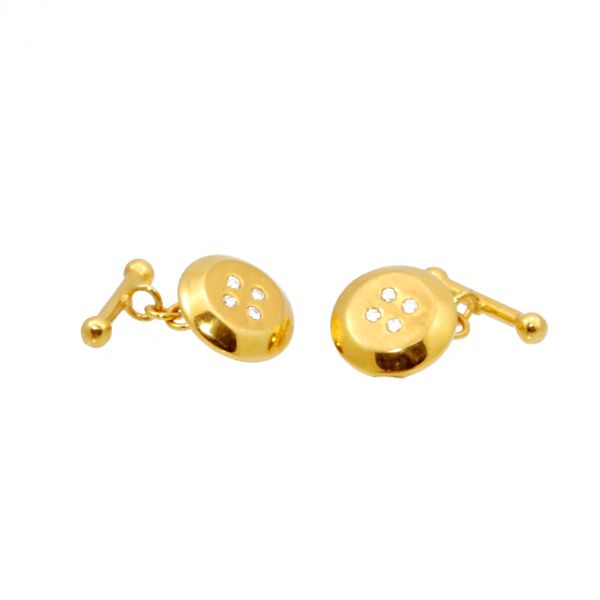 14k y/g Cuff Links with Diamond .20ct