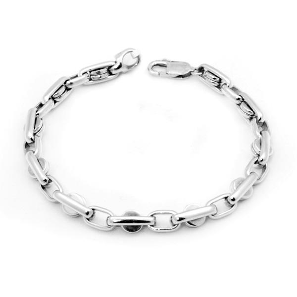 14k w/g Movable Link Gents Bracelet