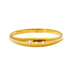 14k Yellow Gold Millenium Cricket Band with Diamond