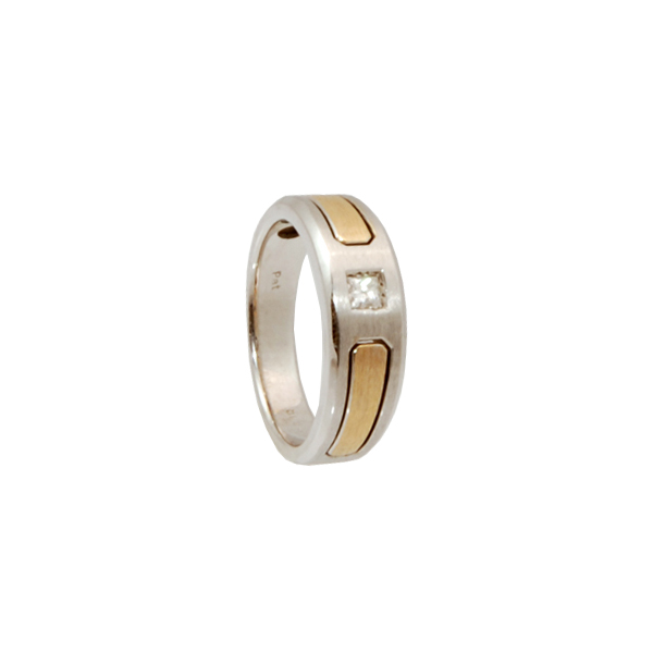 14k 2 Tone Gents Ring with Diamond