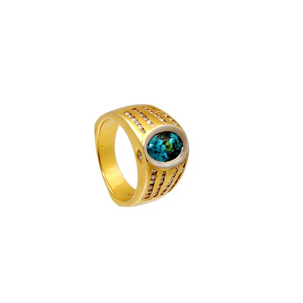 14k y/g BlueZircon Diamond .87ct + .18ct