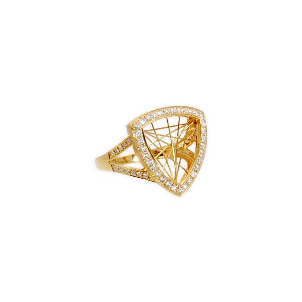 Diamond .37ct Triangle 14k y/g